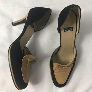 Stuart Weitzman Tan Black Bow Round Toe Heels 6